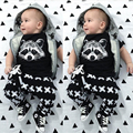 2017 New summer Infant clothes unisex baby Romper short-sleeved Fox T-shirt+pants baby boy girl clothes roupas de