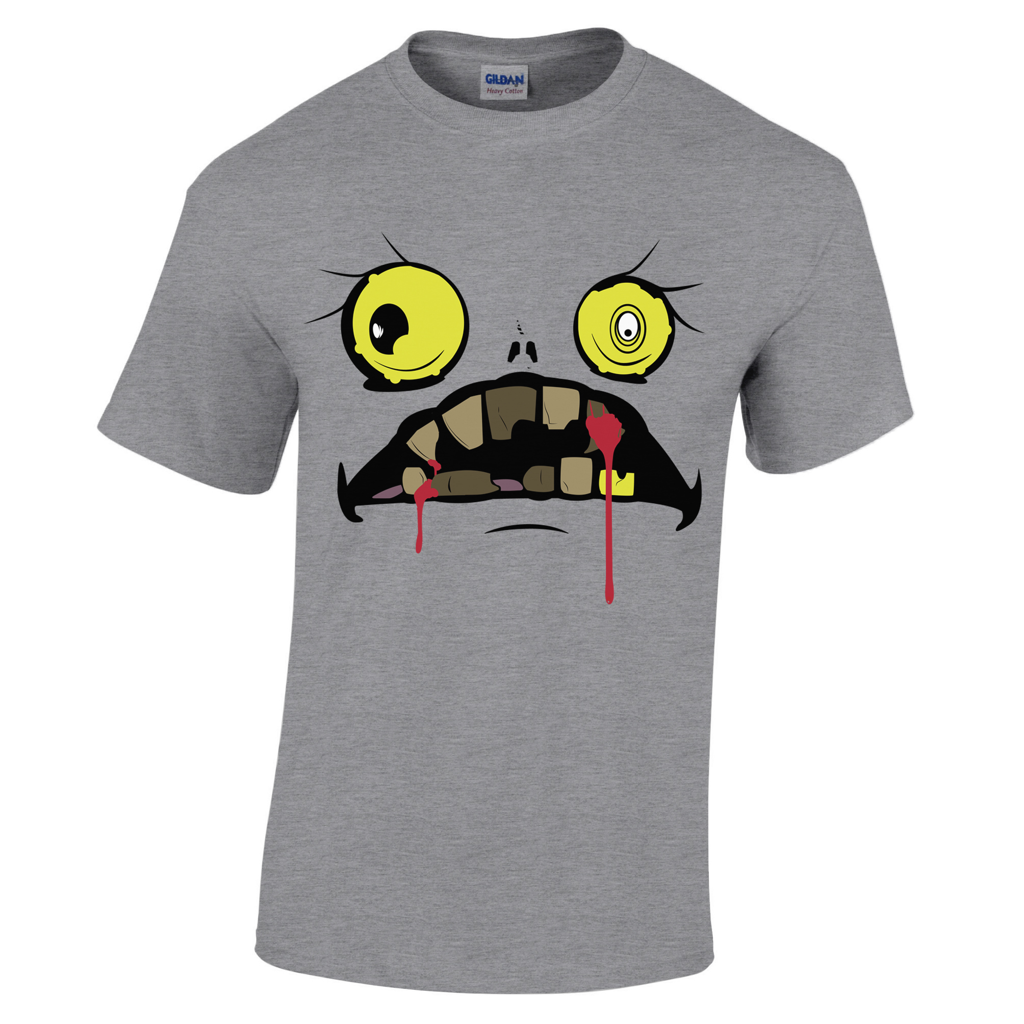 Simpsons Halloween Shirt.Scary Halloween Funny Face T Shirt Bloody Fanged Ghoul Monster