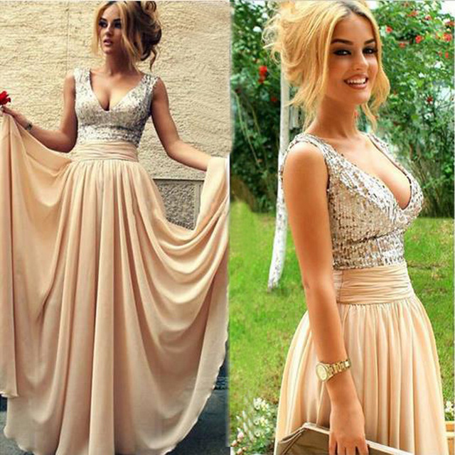 Best Selling Sexy V Neck Prom Dresses 2016 Flowing Nude Chiffon Silver  Stylish Maxi Dress 9421d43ca