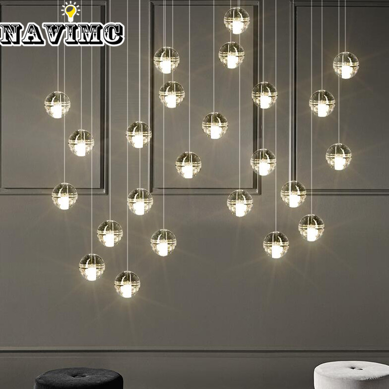 LED Pendant Stair Lights Loft Coffee Bedroom Lighting Modern Glass Pendant Lamps minimalist villa long lighting stairs lights white ceramic stair stair lamp pendant lamps rotating modern pendant lights
