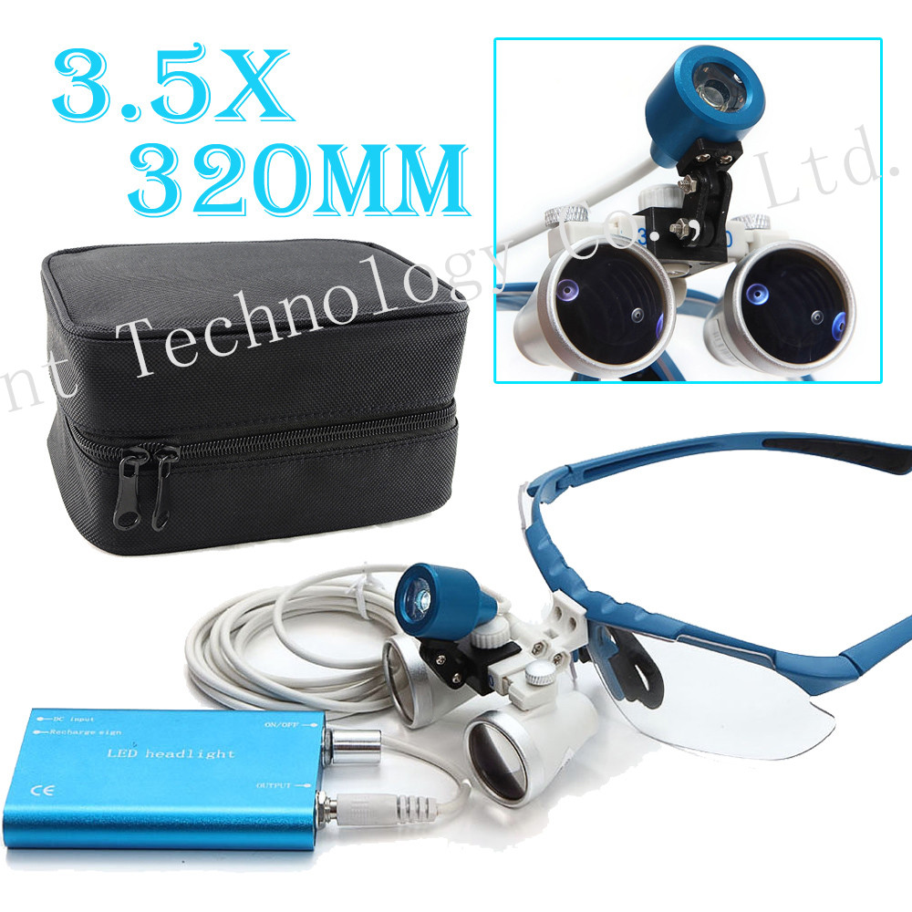 BLUE Dentist 3.5X 320mm Optical Glass Loupe + LED Head Light Lamp+Case Dental Surgical Medical Binocular Loupes high end luxury 2 5x 320mm dentist surgical medical binocular loupes led dental lampe headlight optical glass loupe set black
