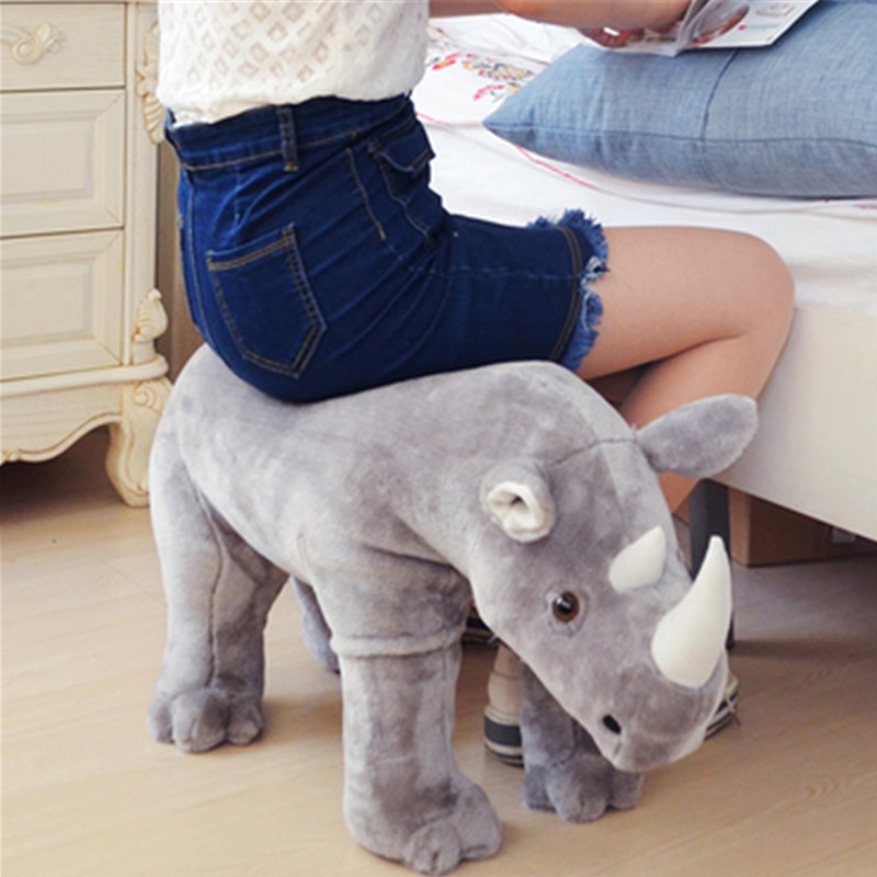 Fancytrader Simulated Rhinoceros Plush Chair Stuffed Animals Anti-skid Unicorn Toys Decoration Sofa Could Load 80kg on the Back the silver chair