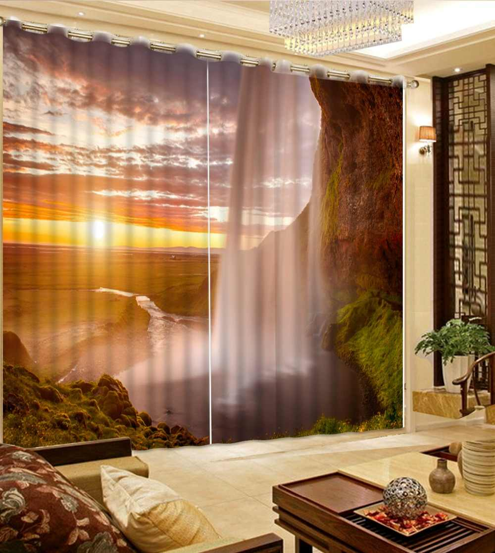 Sunset grassland waterfall Landscape Scenery Digital Photo Printing Blackout 3D Curtains for Living Room Bedding Drapes Cortinas