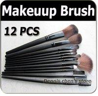 Professional 12 Pcs Make Up Cosmetic Brush Set Makeup Brushes With Black Holder Bag Free Shipping