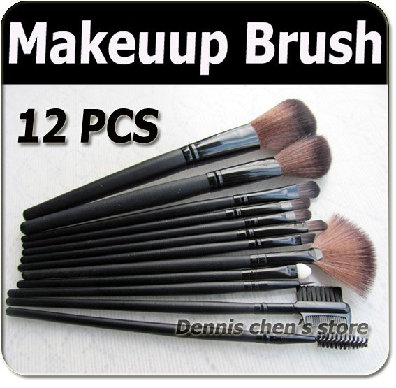 Professional 12 pcs make up Cosmetic Brush Set / makeup brushes with black holder bag Free shipping wholesales 4pcs/set free shipping durable 32pcs soft makeup brushes professional cosmetic make up brush set