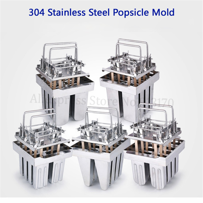 Ice Pop Mold DIY Popsicle Ice Lolly Mould Durable Health 304 Stainless Steel 8pcs/Batch with Sticks Holder commercial diy popsicle mould 20pcs batch ice lolly moulds ice pop mold 304 stainless steel ice cream tool