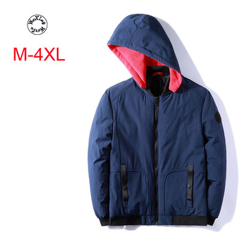 Woxingwosu autumn and winter men's hooded parkas, thickened, pure, down, cotton, short, large size casual cotton jacket M to 4xl woxingwosu girl s hooded down coat large code light down jacket female short super light and thin s to 4xl 5xl xl 7xl 8xl