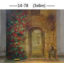 Professional customized 3x6M Hand Painted muslin scenic door flower backdrop,100%cotton photography backgrounds for photo studio
