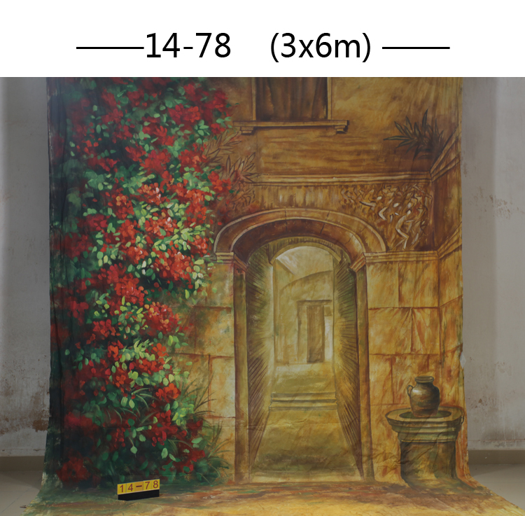 Professional customized 3x6M Hand Painted muslin scenic door flower backdrop,100%cotton photography backgrounds for photo studio free shipping nature snow scenic photography photo backdrop vinyl christmas backgrounds for photo studio bg 33