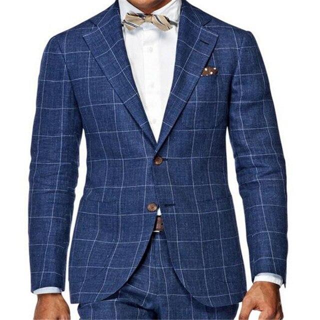 e51d56c57dcf Navy Blue Men'S Slim Fit Suit Wardrobe Essentials Tailor Made Windowpane Check  Suits For Men,
