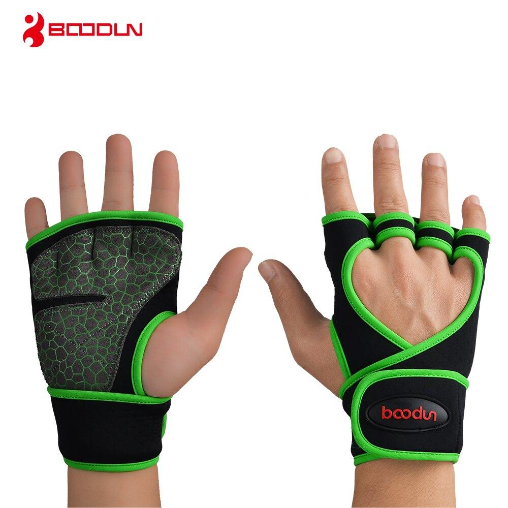 Купить с кэшбэком Boodun Weight Lifting Training Gloves Men Women Fitness Sports Body Building Gymnastics Grips Gym Hand Palm Protector Glove