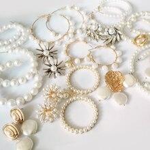 Винтажные серьги-кольца ZA с жемчугом для женщин, ручная работа, для свадеб и вечеринок, Необычные геометрические ювелирные изделия, большие жемчужные серьги
