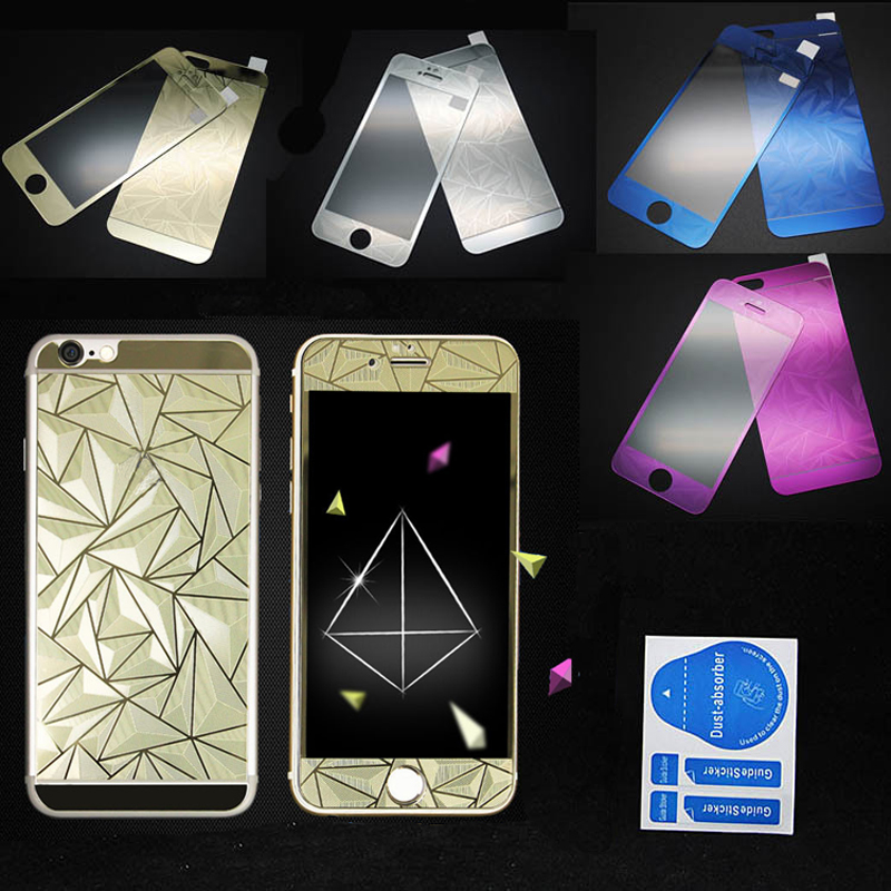 3D 0.3MM Front+Back Diamond Mirror Effect Color Tempered Glass for Iphone 4 4S 5 5S 6 6S 6Plus 6Splus Film case Screen Protector