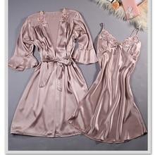 high quality Women Silk Lembroidery Lady Sleepwear Fashion Sexy Sets V Neck Sleepwear Women s Pajamas
