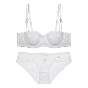 Image 3 - Varsbaby New thin cotton half cup fashion sexy lace ladies underwear floral bra sets