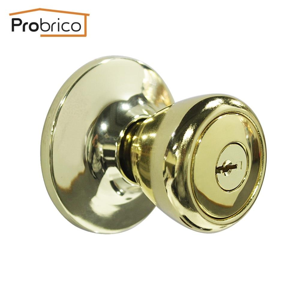 Probrico 10 PCS Door Lock With Key Stainless Steel Safe Lock Security Gold  Door Handles Door Knob Entrance Locker DL576PBET In Locks From Home  Improvement ...