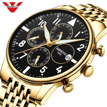NIBOSI Mens Watches Top Brand Luxury Men Watch Military Sport Wristwatch Quartz Watch Gold Steel Erkek Saat Relogio Masculino