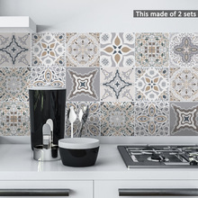 Funlife Decor Moroccan Tiles PVC Tile Stickers,Retro Wall Art Decal,Adhesive Waterproof Kitchen Bathroom Furniture Sticke