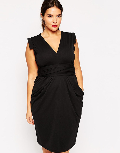 3XL-6XL Plus size office work dresses Casual sexy v-neck dress woman with 4220304290c8