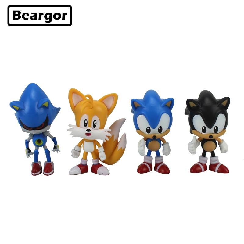 Free Shipping 4pcs 3 Anime Game Sonic the Hedgehog Yellow Blue Boxed 7.5cm PVC Action Figure Collection Model Doll Toys Gift anime game action figure 14cm nautilus the titan of the depths pvc action figure doll brinquedos kids model toys collection gift