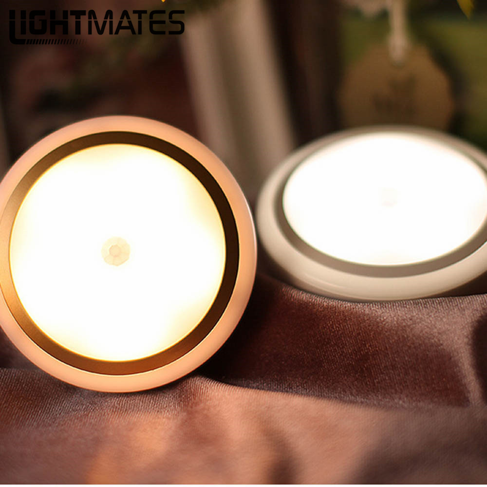 LIGHTMATES  Round LED Night Light Infrared IR Bright Motion Sensor Lamp Activated Wall  Lights Auto On/Off Battery Operated mini infrared motion sensor led night lights wall lamps