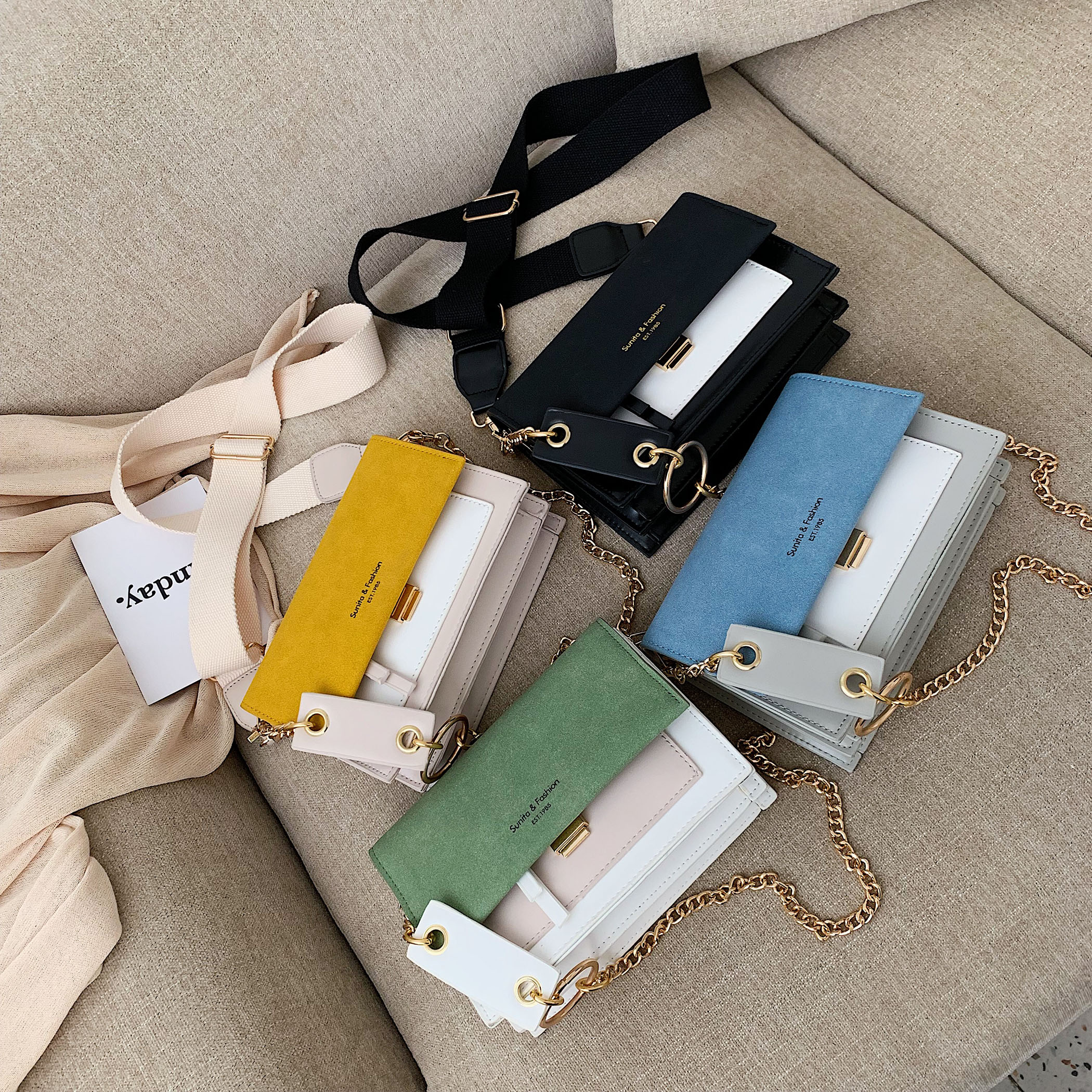 Scrub Leather Contrast Color Crossbody Bags For Women 2020 Chain Messenger Shoulder Bag Ladies Purses and Handbags Cross Body