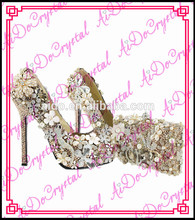 Aidocrystal handmade princess sexy crystal  high heel shoes and purses wedding pumps shoe and bag sets with flowers in china