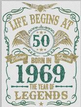 2018 Fashion Summer Style Life Begins At 50 Mens T-Shirt BORN In 1969 Year of Legends 50th Birthday Gift Tee shirt(China)