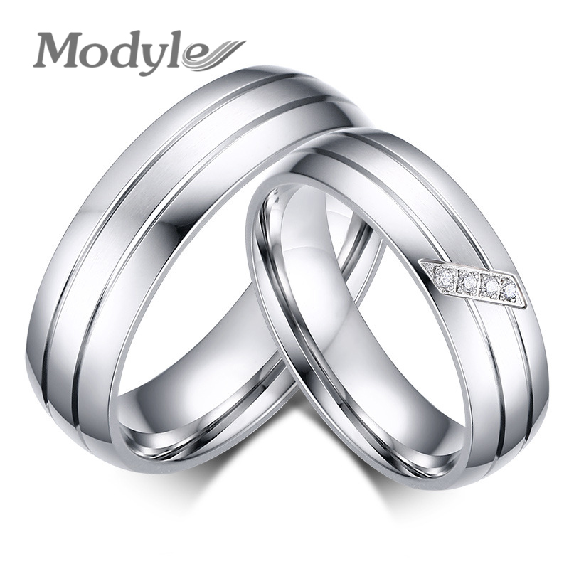Zorcvens Famous Brand Rings For Women And Men Engagement Wedding Ring Set Stainless Steel Jewelry With Rhinestone