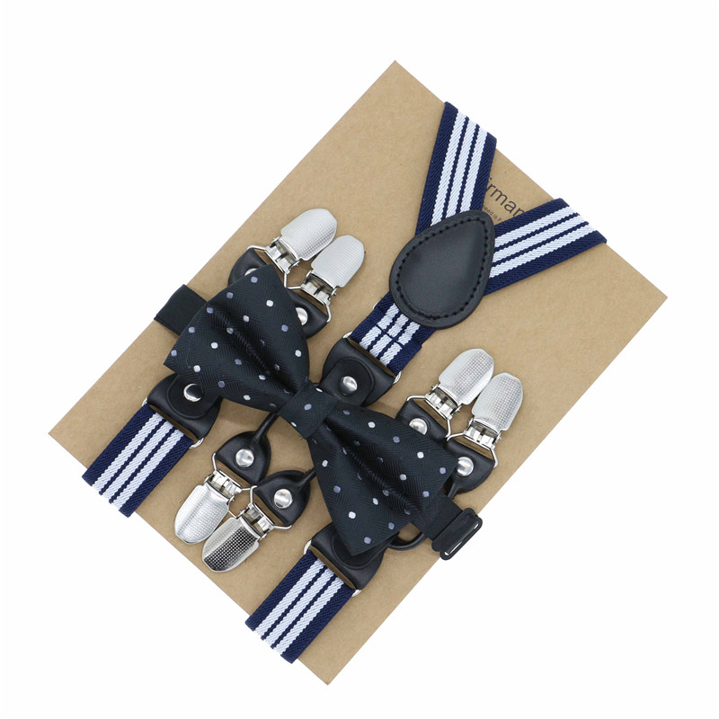 2018 Fashion Boys Girls Kids Adjustable Elastic Y-Back Braces Baby Suspenders Set Bow Tie Butterfly NeckTie Wedding Bearer Wear