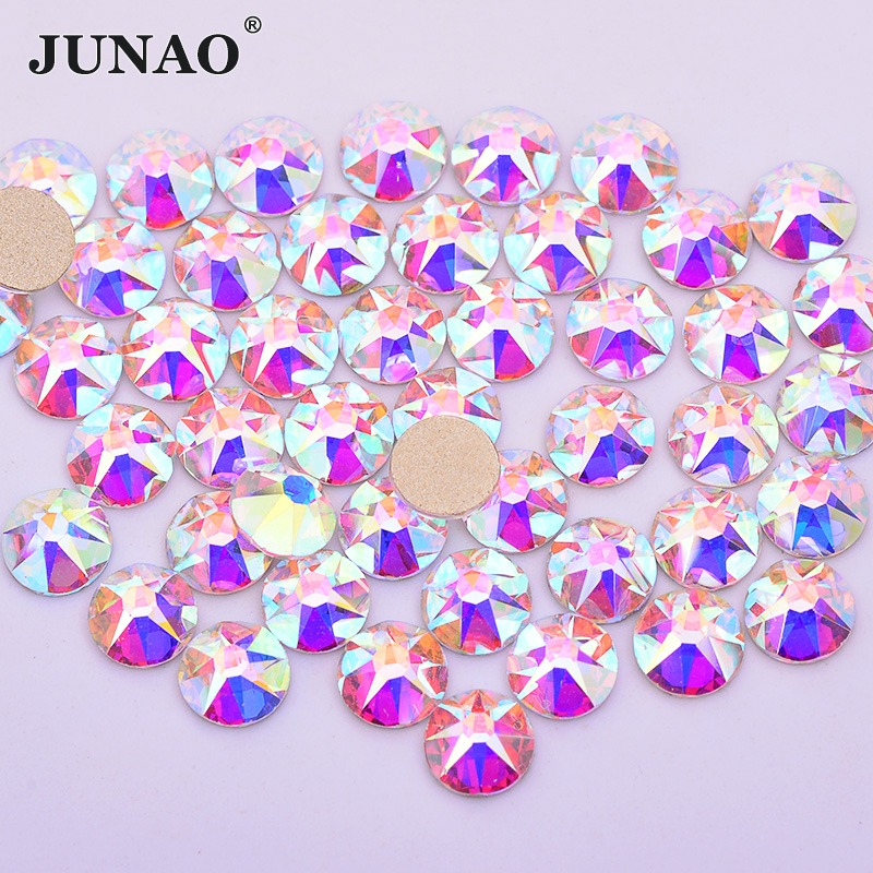 JUNAO 8 Big+8 Small Facet SS20 Glitter Crystal AB Glass Nail Rhinestone Round Nail Decorations Stones Gold Base Strass Crystal