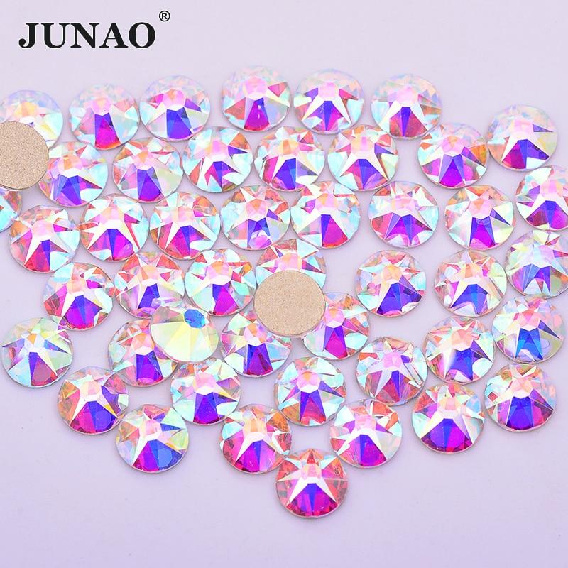 JUNAO 8 Big+8 Small Facet SS20 Glitter Crystal AB Rhinestones Glass Nail Strass Crystal Flatback Round Nail Decorations Stones