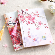 New Beautiful Vintage Creative Diary Present Chinese Pink Peach Printed Craft Paper Blank Planner Traveler Notebook Notepad