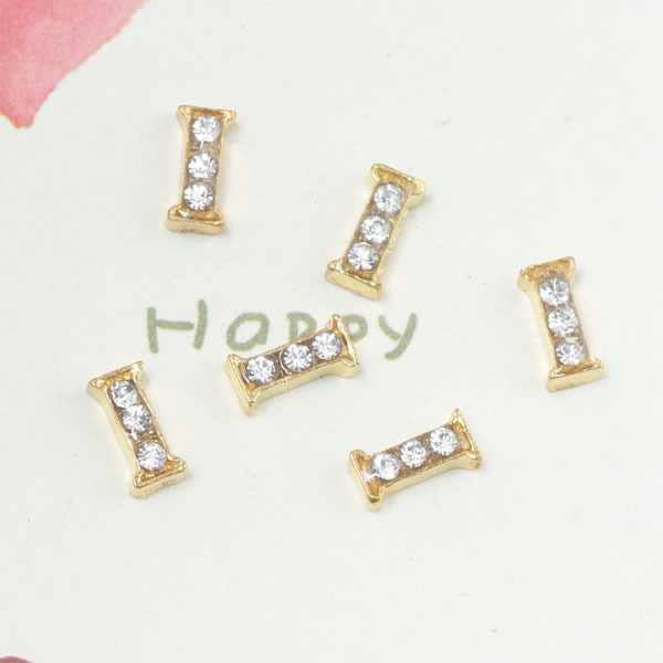 free shipping 20pcslot floating gold color i initial letter charms g01 9