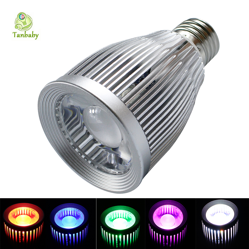Tanbaby E27 10W RGB full color led bulb lamp with remote controller AC85-265V indoor decoration home light 16 different color 10w 450 lumen waterproof rgb led underwater lamp light with remote controller dc 12v