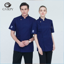 Chef-Jacket Chef-Uniforms Bakery Kitchen Cook Restaurant Short-Sleeved Women Double-Breasted