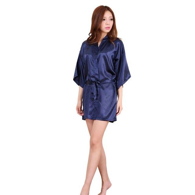 b2941c7808 New Navy Blue Chinese Women Silk Rayon Robe Kimono Bath Gown Sleepwear Sexy  Lingerie Nightgowns Plus Size S M L XL XXL XXXL