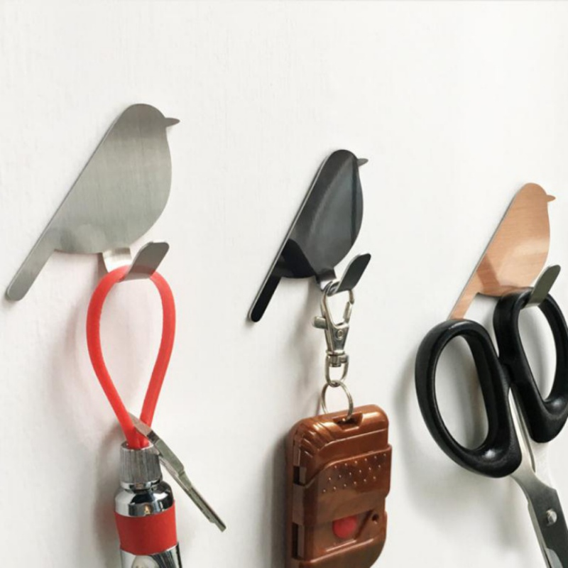 Punch-free Refrigerator Back Door Hooks Bird Shaped Kitchen Tools Bathroom Hat Bag Towel Key Hanging Wall Hanger Home