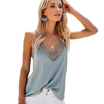5ef263647306e24 Женская пикантная кружевная майка Топ Для женщин silk-как пижамы Ночная  рубашка Дамы пижамы летняя домашняя одежда