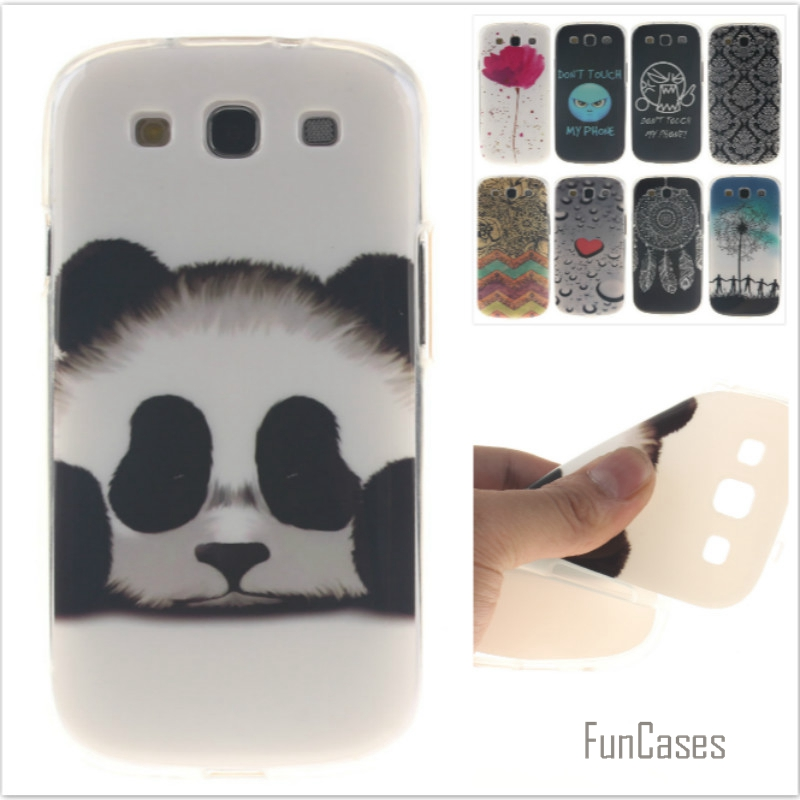 Fashion cute Tiger Lion Pattern soft silicone cover TPU phone Cases for Samsung Galaxy S3 i9300 9300 Flower Cartoon Fundas Capa
