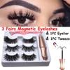 3 Pairs Magnetic Eyelashes With 1Pc Magnetic Eyeliner and Eyelashes Tweezer 3