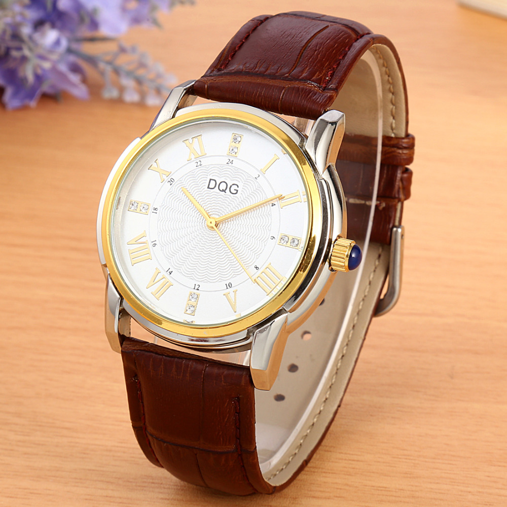 New Fashion Luxury Brand DQG Men Business Casual Quartz Watch Men Gold Leather Strap Watches Relogios Masculinos Hot Sale Clock