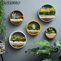 Creative Wall Hanging Iron Glass Flowerpots With Flower Stone Sand Vase Ornamental Hanging Baskets Garden Restaurant Home Decor