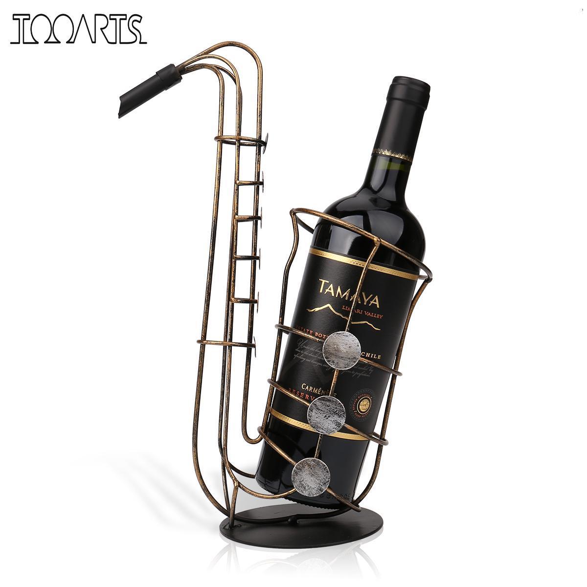 Tooarts Métal Sax Casier à Vin Moderne Artisanat Motifs Cadeau Vin Figurine Porte-Creative Bouteille de Vin Stand Décoration Accessoire