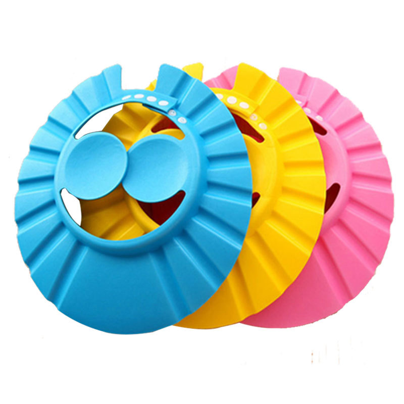 3 Color Soft Adjustable Baby Shower Cap Protect Children Kid Shampoo Bath Wash Hair Shield Hat Waterproof Prevent Water Into Ear
