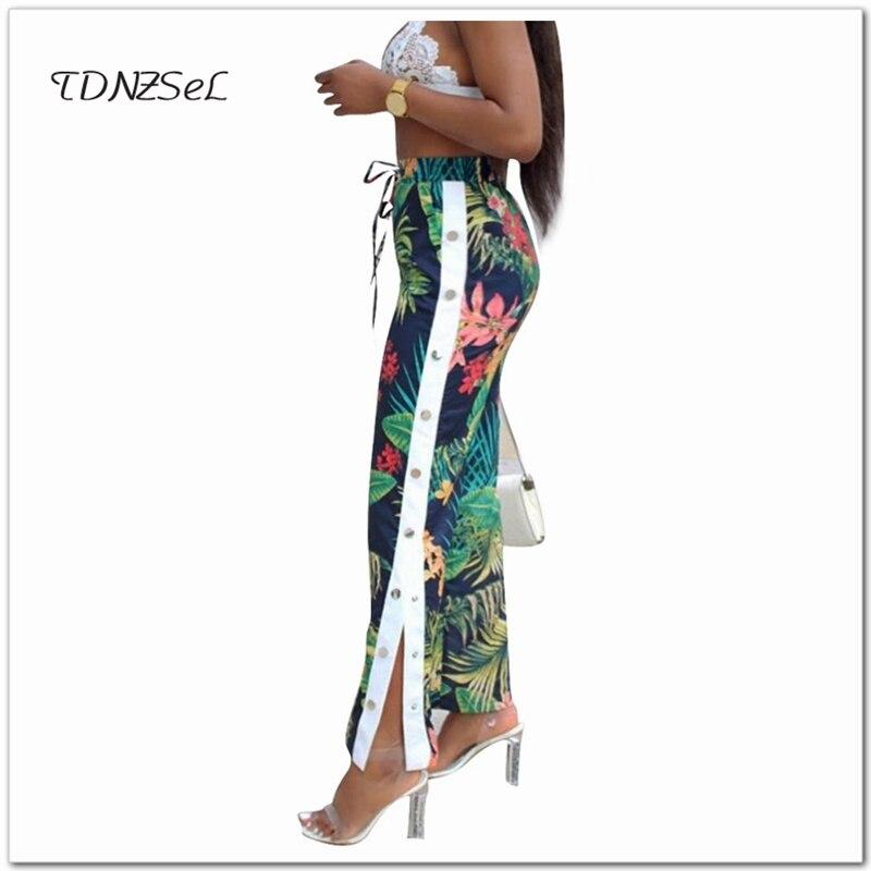 Women Boho Casual Print Floral Wide Leg Pants Side Button Split Drawstring Elastic Waist Long Trousers 2018 Sexy Summer Clothing