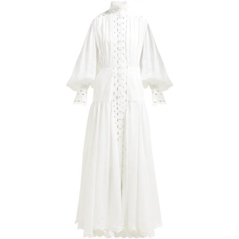 2019 nowe mody kobiet bawełniana sukienka długa Puff rękawem stojak kołnierz Hollow Out biała koronkowa sukienka luźne na co dzień panie Party sukienki w Suknie od Odzież damska na  Grupa 3