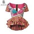2016 лето африканских clothing топы для женщин батик анкара воск хлопок печати с коротким рукавом sexy v-образным вырезом назад выдалбливают рубашки верхней