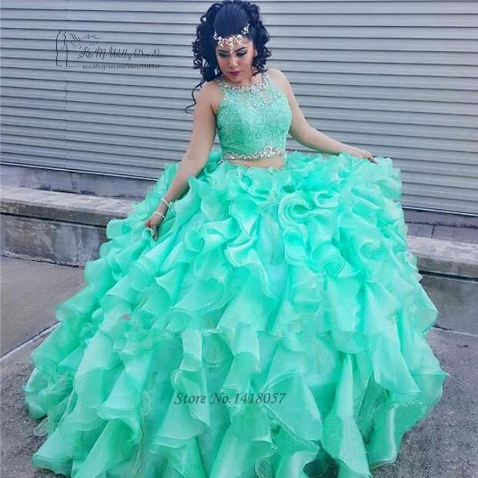 Turquoise Ball Gown 2 Piece Quinceanera Dresses Ruffles Organza Renda Quinceanera Gaun Manis 16 Gaun Prom Pageant Gaun Dresses Dance Dress Magazinedresses Lace Aliexpress
