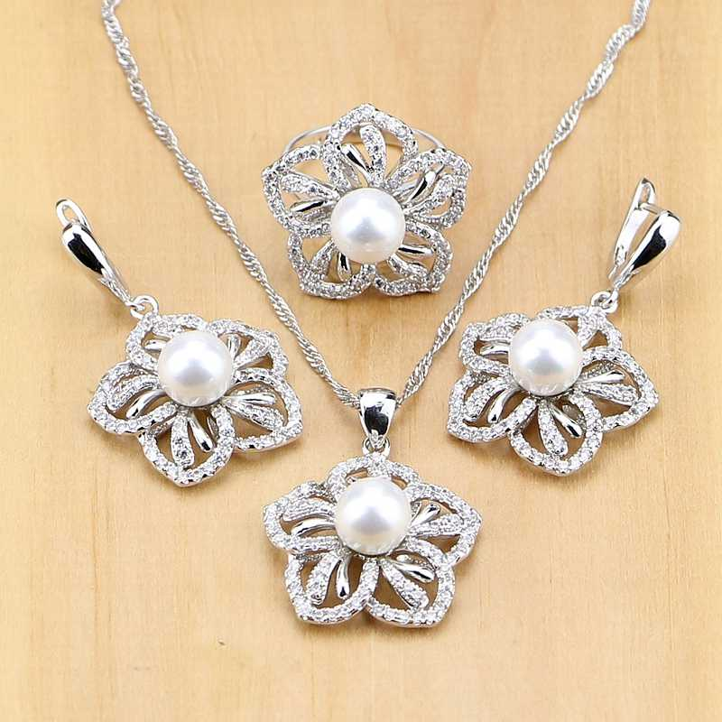Flower 925 Sterling Silver Jewelry Freshwater Pearls With Beads Jewelry Set For Women Pendant Drop Earrings Rings Necklace Set